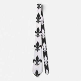 Black White Fleur De Lis Design Tie
