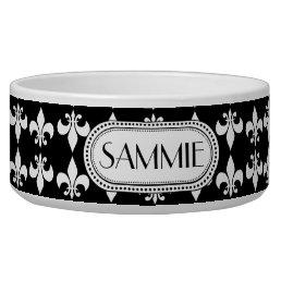 Black   White Fleur de Lis Monogram Pattern Bowl