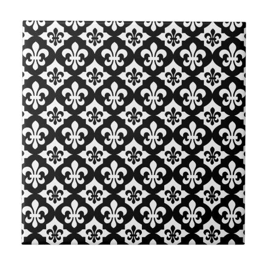 Black White Fleur De Lis Pattern Ceramic Tile