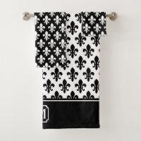 Black White Fleur De Lis Pattern Monogram Bath Towel Set