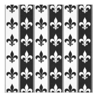 Black White Fleur De Lis Pattern Print Design