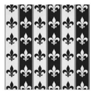 Black White Fleur De Lis Pattern Print Design Poster