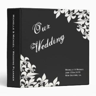 Black White Fleur de Lis Pattern Wedding Planner 3 Ring Binder