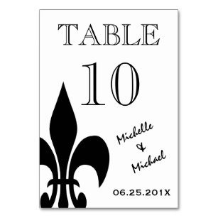 Black White Fleur De Lis Table Number Card