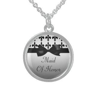 Black & White Fleur De Lis Wedding Sterling Silver Necklace