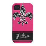 Black & White Fleur de Lis with Pink for Melissa Vibe iPhone 4 Cover