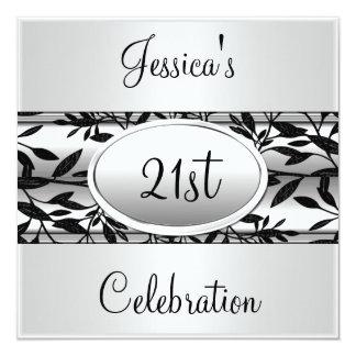 "Black & White Floral 21st Birthday Event 5.25"" Square Invitation Card"