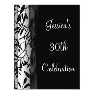 "Black & White Floral 30th Birthday Event 2 4.25"" X 5.5"" Invitation Card"