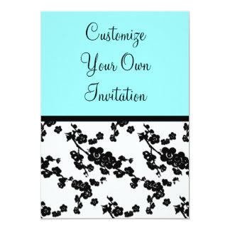 Black & White Floral, Brilliant Blue 5x7 Paper Invitation Card