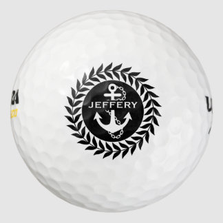 Black & White Floral Circle & Nautical Anchor Pack Of Golf Balls
