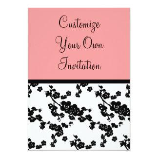 Black & White Floral, Coral Tiger Lily 5x7 Paper Invitation Card