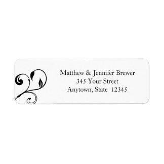 Black & White Floral Curls Envelope Address Labels