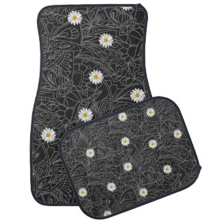 Black white floral daisies striped pattern car mat