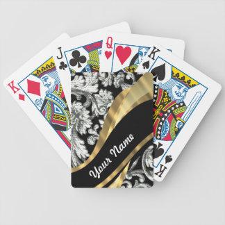 Black & white floral damask bicycle playing cards