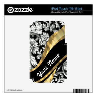Black & white floral damask decals for iPod touch 4G