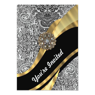 Black & white floral damask pattern card