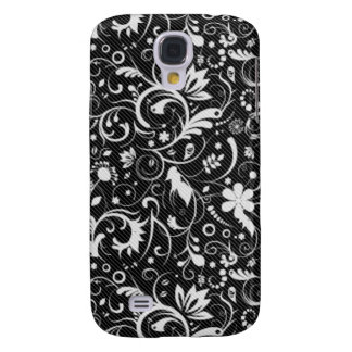 Black White Floral Damask Pattern Galaxy S4 Cover