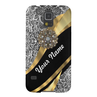 Black & white floral damask pattern case for galaxy s5