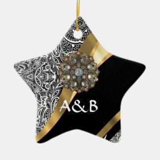 Black & white floral damask pattern ceramic ornament