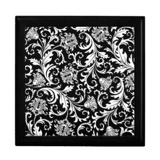 Black & White Floral Damask Pattern Trinket Boxes