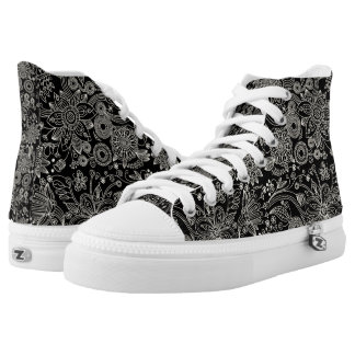 Black & White Floral Damask Pattern High-Top Sneakers