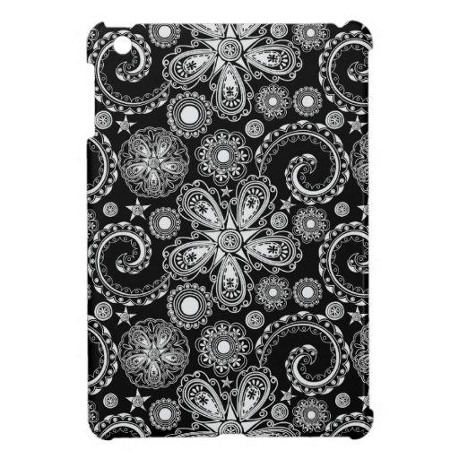 Black & White Floral Damask Pattern iPad Mini Case