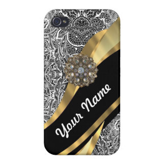 Black & white floral damask pattern iPhone 4 cover