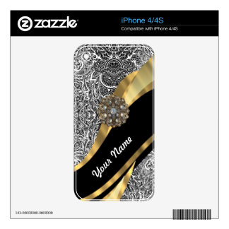 Black & white floral damask pattern iPhone 4 decal