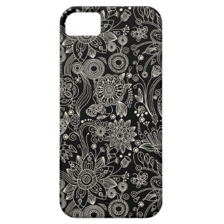 Black & White Floral Damask Pattern iPhone 5 Case