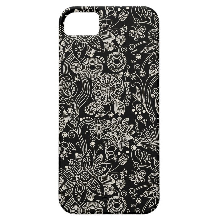 Black & White Floral Damask Pattern iPhone SE/5/5s Case