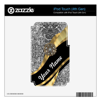 Black & white floral damask pattern iPod touch 4G decal