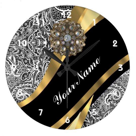 Black & white floral damask pattern large clock