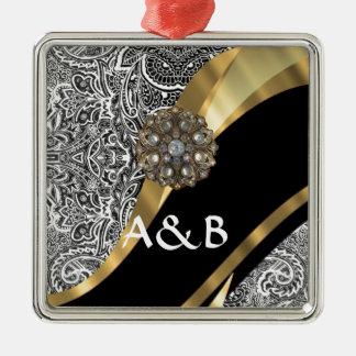 Black & white floral damask pattern metal ornament