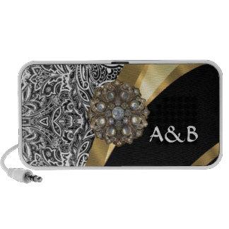 Black & white floral damask pattern portable speaker