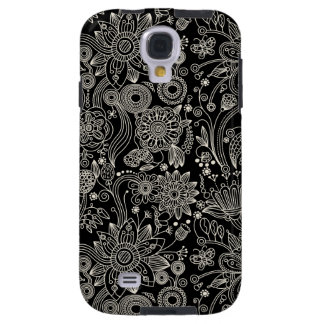 Black  White Floral Damask Pattern Samsung  S4 Cas Galaxy S4 Case