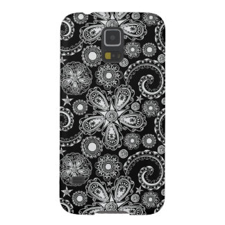 Black & White Floral Damask Pattern Samsung S5 Cas Case For Galaxy S5
