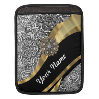 Black & white floral damask pattern sleeve for iPads