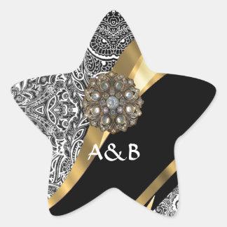 Black & white floral damask pattern star sticker