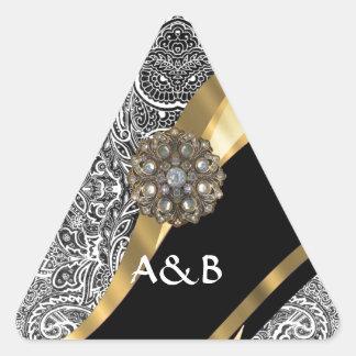 Black & white floral damask pattern triangle sticker