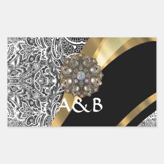 Black & white floral damask pattern rectangular sticker