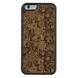 Black & White Floral Damask Pattern Carved® Cherry iPhone 6 Bumper Case