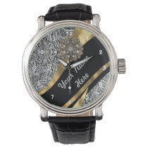 Black & white floral damask pattern wristwatch