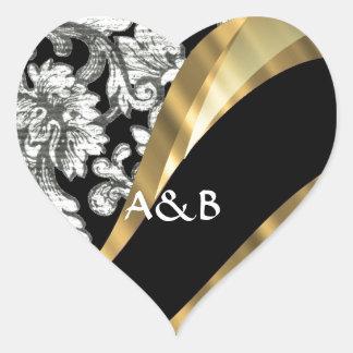 Black & white floral damask heart sticker