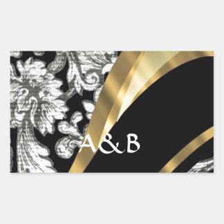 Black & white floral damask rectangular sticker