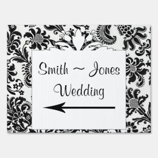 Black White Floral Damask Wedding Direction Sign