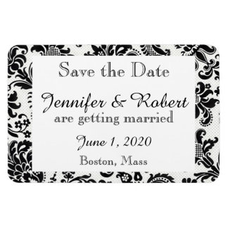 Black White Floral Damask Wedding Save the Date Flexible Magnets