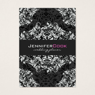 Black & White Floral Damasks 3 Wedding Planner Business Card