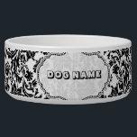 """Black &amp; White Floral Damasks 4-Monogramed Bowl<br><div class=""""desc"""">Black and white elegant vintage floral damasks pattern. Custom name.</div>"""