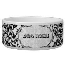 Black & White Floral Damasks 4-Monogramed Bowl