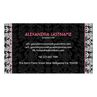 Black & White Floral Damasks Customized Double-Sided Standard Business Cards (Pack Of 100)